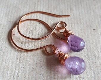 Minimalist Amethyst Earrings. Copper Dangle Earrings. Handmade Copper Earrings.Cute Purple Crystal Earrings. Casual Everyday Earrings.