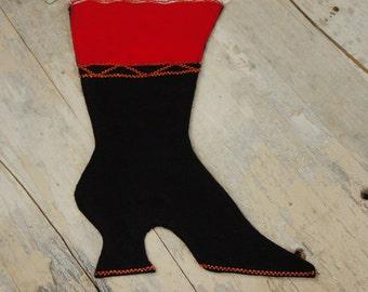 Vintage 60s Victorian Boot Christmas Stocking/ Retro/ Mid Century