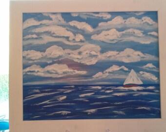 "Original Abstract Framed Ocean Painting ""Sea Breeze"""