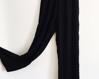 Vintage Lilli Ann Black Palazzo Pants with Gold Waistline // 1980s