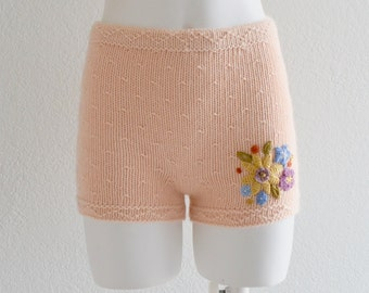 Valentine's day cute cashmere embroidered high waisted shorts in pale melon color shade