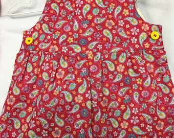Handmade 2-pc Red Paisley Sunsuit Bloomers Panties Size 12-18 months