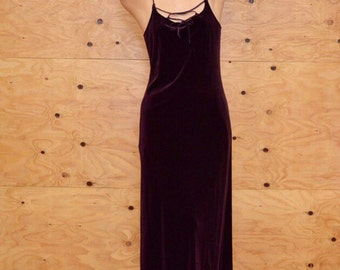 vintage slinky 90's burgundy lace up maxi dress S