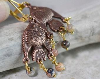 Bohemian Fish Earrings Leopard Skin Jasper Earrings Antique Copper Earrings Rustic Charms Long Boho Earrings Sand Peach Gold Gift for Women