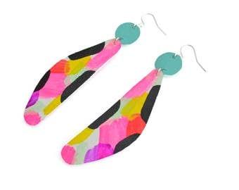 Geometric Earrings, Art Earrings, Neon Pink Earrings, Drop Earrings, Leather Earrings, Painted Earrings, Dangle Earrings, Leather Jewelry