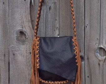 Black handbag ,  Crossbody leather shoulder bag, Man bag, Custom handbag, Fringed handbag , Black leather possibles bag