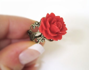 Botanical Ring - Red Flower Ring - Floral Ring - Womens Rockabilly Costume Accessory - Womens Resin Jewelry - Adjustable Red Rose Ring Gift