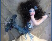 OOAK Mermaid Art Doll Cloth Doll Soft Sculpture Mermaid Doll Deep Blue Sea