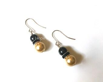 Black & Gold Pearl Earrings | Swarovski Glass Pearl Earrings | US Army Soldier Wife Mom Girlfriend Cavalry CAV USMA Cadet Jewelry 32018