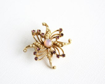 Vintage Flower Brooch Star Flower Pin Faux Pearl Amethyst Purple Imitation Opal Center Goldtone Metal Floral Stylized Flower Costume Jewelry