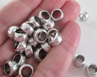 Silver Rondelle Spacers - Large Hole Round Beads - Ring Spacers Sliders - Bracelet Findings - For Leather Cord - 11mm - 22 PCS - Diy Jewelry