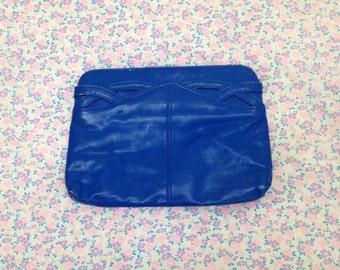 Vintage 1980s Bright Blue Clutch Purse