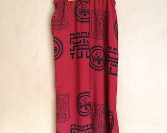 SALE! vintage 90's column skirt / minimal print / tribal pattern / womens skirt / maxi skirt / ethnic
