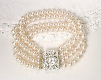 1940 Art Deco Multi Strand Pearl Bracelet Cream Ivory Glass Pearl Bridal Bracelet, Ornate Silver Rhinestone Clasp Gatsby Vintage Wedding