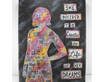 Canvas Wall Art - She Decided to Create The Life of Her Dreams - Painting Mixed Media Graduation Quote