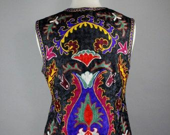 Women's Boho Vest, 70s Vintage Vest, Ethnic, Hippie, RocknRoll, Spring, Paisley, Bohemian, Size Medium