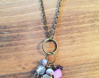 Long Upcycled Charm Necklace with Purple Charms