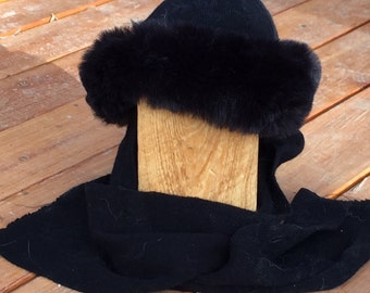 Black Hat with Faux Fur trim and Scarf Attached
