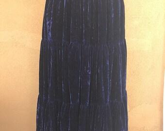 Navy Blue Tiered Southwestern Style Soft Velvet Skirt