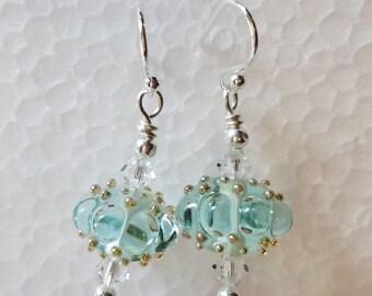 Clear Aqua Lampwork Bead Earrings Sterling Silver