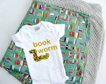 Book themed baby shower gift Baby Blanket Minky Baby Blanket for Boys and Girls Gender Neutral Baby Gift