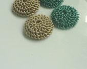 Moroccan swirl art silk and metallic embellishments, handmade, greenery and hazelnut set of 4