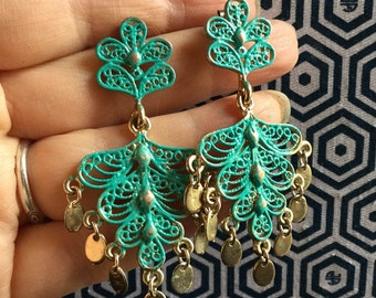 Bohemian Hand Painted earrings - Cannetille - gypsy earrings -  EPSTEAM - Hippie - Festival Wear - Dangle chandelier earrings - turquoise
