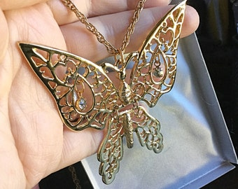 1970's Articulated butterfly bug necklace - Big Butterfly - EPSTEAM - Moveable butterfly - gold rhinestone butterfly -Butterfly jewerly