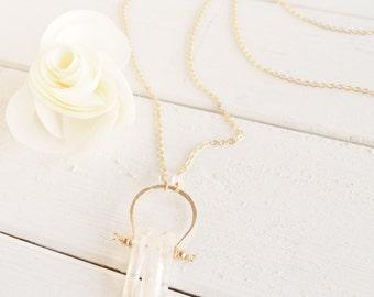 Quartz Point & Gold -  Long Bohemian Necklace
