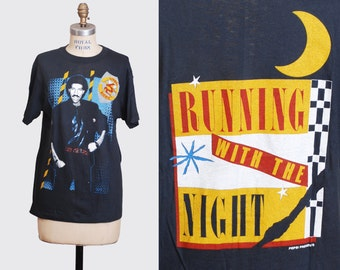 Vintage 80s Lionel Richie Running With The Night TShirt / 1980s Lionel Richie RnB Tour Concert Band T Shirt Shirt s m