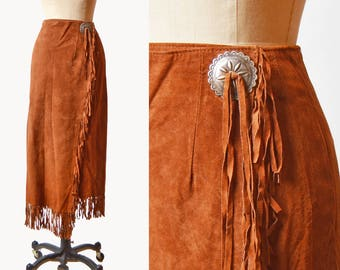 Vintage 90s SUEDE Fringe wrap SKIRT / 1990s Soft Cocoa Brown Leather Midi Skirt S