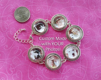 Photo Bracelet - Custom made from YOUR photos!  20mm, chunky, large picture bracelet – 6 images. Silver, family, pets, memory, personalized.