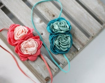 Double Date - ombre shades of peach coral or teal turquoise aqua satin rose rosette headband bow