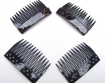4 vintage Karina hair combs 1980s black gold theme hair accessory hair ornament decorative comb (AAU)