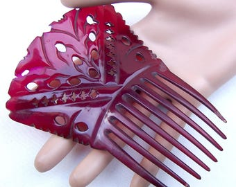 Victorian Spanish style hair comb red dyed steer horn hair accessory decorative comb headdress headpiece