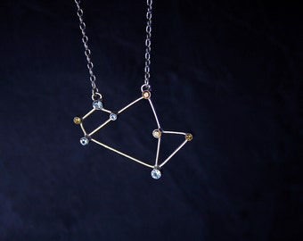 """Sagittarius Constellation (""""Teapot"""" asterism) necklace  - sterling silver, natural yellow citrine and synthetic blue spinel- READY to SHIP"""