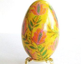Yellow Goose egg Ukrainian Easter Egg Pysanka gift so unique she will love it egg is start of life