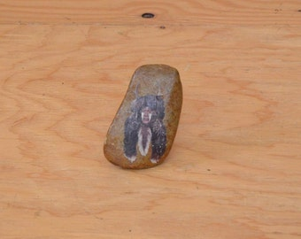 Vintage 70's Brown Stone With Native American Portrait On It