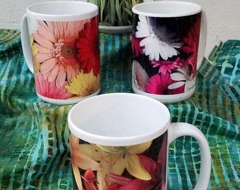 Floral Coffee Mugs Set of 4 including Gerber Daisies, Tulips, and Tiger Lilies Fine Art Photo Mug  15 oz  and 11 oz mug
