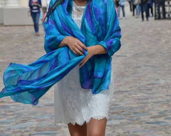 Scarf silk caribbean blues silk wrap   hand painted scarf,