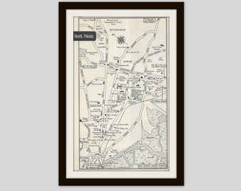 Karachi Pakistan Map, City Map, Street Map, 1950s, Black and White, Retro Map Decor, City Street Grid, Historic Map