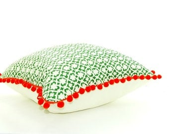 CLEARANCE sale - Large emerald green pillow, pom pom pillow, bohemian decor, boho pillows, Square green cushion, geometric, modern pillow,
