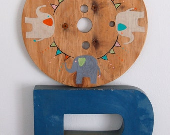 Baby Elephant Sign in Reclaimed Wood Wheel - Rustic Children's Room Artwork - Handpainted Original Nursery Art - Party Pennant and Elephants