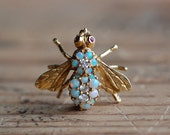 Vintage Herbert Rosenthal 18K opal diamond bee pin ∙ Designer Rosenthal 1970s gemstone bee pin