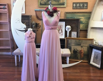 Cottage Dusty Rose with Pink Swan Tulle Full Circle Infinity Convertible Wrap Dress- or custom choose fabrics for Bridal, Bridesmaids, prom