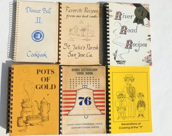 Fundraiser Cookbooks Lot School, Church, Junior League Regional Clubs Spiral Bound Recipe Collections