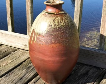 Large Wood Fired Pot, Handcrafted, Wheel Thrown and Coiled Stoneware Vessel with Ash, Decorative, Rustic Home Decor, Tall Pottery Vase.