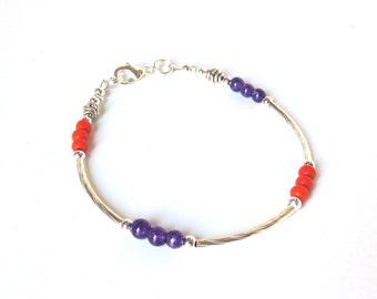 Clemson Silver Bracelet, Orange and Purple, Clemson Colors, Purple Garnet and Orange Magnesite Beads, Minimalist Bracelet