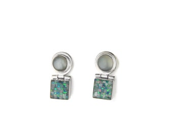 Retro Mod Blue Onyx and Opal Mosaic Sterling Silver Post Earrings