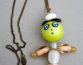 Vintage Glass & Lucite Bead Doll Necklace Sleepy Boy
